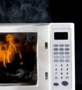 Microwave on fire image